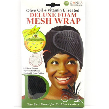 Donna Deluxe Foam Mesh Wrap, Black, Olive Oil + Vitamin E Treated