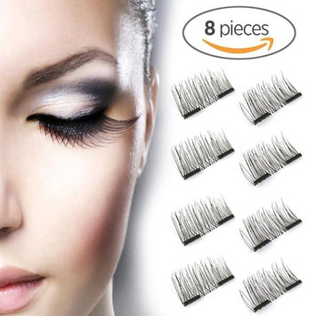 Magnetic False Eyelashes FOR OUTER EDGED - 3D Fiber Reusable Lashes Extension - 2 Pairs (8 Pieces) Perfect for Deep Set Eyes & Round Eyes