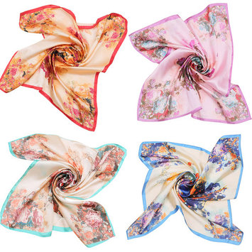 Square Scarf, Coxeer 4Pcs Stylish Floral Printed Silk Neckerchief Neck Scarf for Women Girls