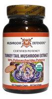 Turkey Tail 50% Polysaccharide Potency Organic Mushroom Defenders 60 Caps