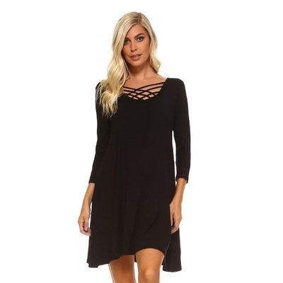 Luxury Divas Black Knit Criss Cross Neckline Swing Dress