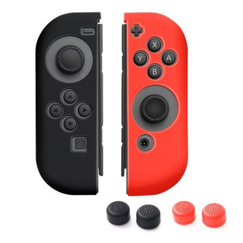 Nintendo Switch Joy-Con case, by Insten (Left BLACK + Right RED) Nintendo Switch Joy-Con Skin Case Cover with 2-Pcs Thumb Grip Stick Caps (Style 1) For Nintendo Switch Joy Con Left/Right Controller