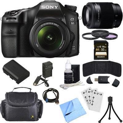 Sony ILCA68K/B a68 A-Mount 24.2 Digital Camera w/ 18-55mm + 55-200mm Lens 32GB Bundle