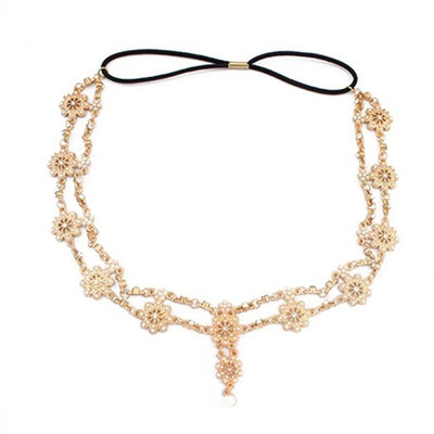 Frcolor Bohemian Alloy Headbands Chain Crystal Pearl Headpiece for Women Headdress Decoration