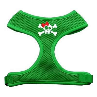 Skull Bow Screen Print Soft Mesh Harness Emerald Green Large