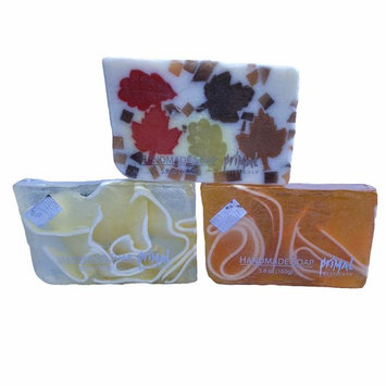 Handcrafted Fall Soap Collection with Autumn Leaves, Pumpkin and Tomato Ultra Moisturizing and Decorative Vegan GMO and Gluten free 6 oz Each