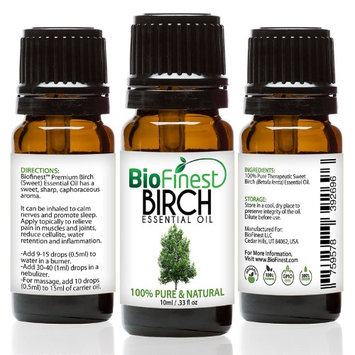 BioFinest Birch Oil - 100% Pure Birch Essential Oil - Fight Arthritis, Muscle & Joint Paint - Premium Quality - Therapeutic Grade - Best For Aromatherapy - with E-Book (10ml)
