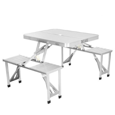 Appletree Outdoor Portable Folding Aluminum Picnic Table with 4 Seats Camping Garden
