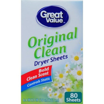 Great Value Ultimate Fresh Dryer Sheets, Original Clean, 80 Count