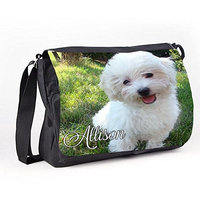 Personalised Reporter / Messenger / School / Bag Bichon Puppy Dog Design By Inspired Creative Design