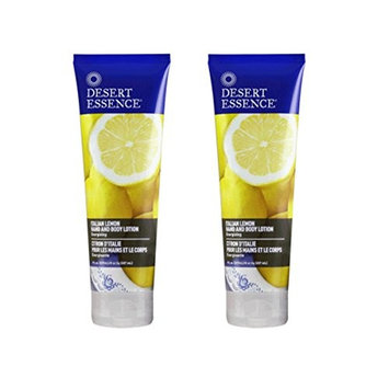 Desert Essence Italian Lemon Hand and Body Lotion With Shea Butter, Sunflower Seed, Jojoba Seed Oil and Lemon Peel Oil, 8.0 oz (Pack of 2)