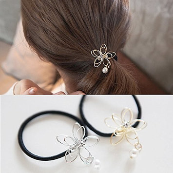 2 Pieces Hair Bows Elastic Pearl Wire Flower Ponytail Holder Scrunchy Hair Rope Elastic Rubber Band Womens