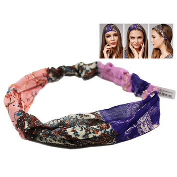 Pink and Purple Colored Wild Girl Headband With Floral Design