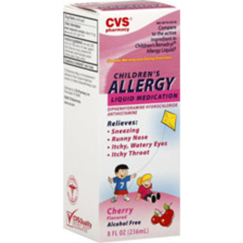 CVS Children's Allergy Relief Diphenhydramine HCl Liquid Medication, Cherry Flavor, 8 OZ