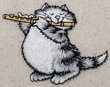 Wholesale Applique Gray Cat - Playing Flute - Pets - Kitten - Iron on Embroidered Applique Patch