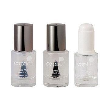 Bundle of Three Items: Caption Nail Polish Base Coat, Gloss Top Coat, & Drying Drops Set .34 oz each by Young Nails