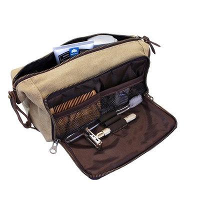 DOPP Kit Mens Toiletry Travel Bag YKK Zipper Canvas & Leather (Medium, Khaki - 3 days shipping)