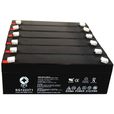 SPS Brand 12V 2.3 Ah Replacement Battery for Alphasource 115-018019-00 (6 pack)