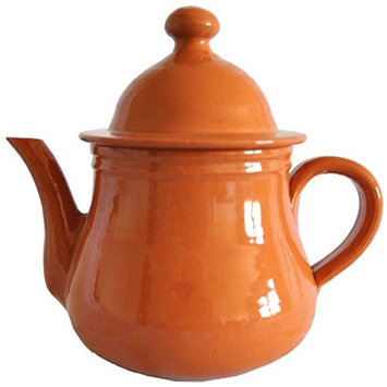 Raphael Rozen Tea Pot - Clay, for Boiling Tea the Good Old Fashion Way. Hand Made, 16 Oz, 2 Cups