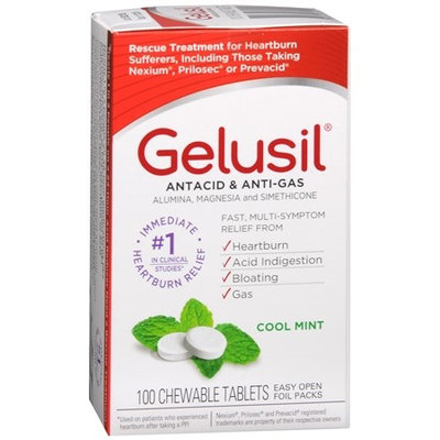 Gelusil Antacid, Anti-Gas Chewable Tablets, Mint 100 ea(pack of 3)