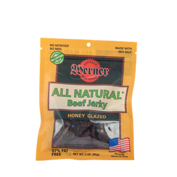 Werner Gourmer Meat Snacks Werner 3oz. All Natural Honey Glazed Beef Jerky 4/6ct.