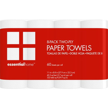 Essential Home 8-Pack 2-Ply Paper Towels