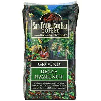 San Francisco Bay Coffee, Decaf Hazelnut Crème- Ground, 12 Ounce, FLAVORED, Swiss Water Process- Decaffeinated [Decaf Hazelnut]