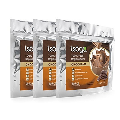 Tsogo Meal Replacement Shake w/ Total Daily Nutrition (Complete Nutrition) - Chocolate Flavor w/ 19 Grams of Protein/Serving (3 Pouch, 15-30 Meals, 48.9oz)