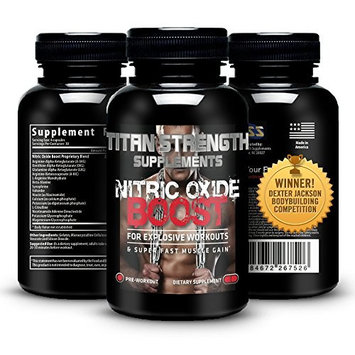 Top Nitric Oxide Booster 120 Capsules. Competition Winning. Muscle Building Nitric Oxide Supplement + L-Arginine. Gives Muscle Building Workouts + Increase Workout Endurance. Guaranteed Most Effective Muscle Building with 30 Day 'Happy Customer' GUARANTEE from Titan Strength Supplements. RECOMMENDED & USED BY WINNER Dexter Jackson Classic Memphis TN and Winner Music City Muscle Nashville TN