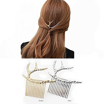2PCS Gold Silver Metal Antlers Shaped Hairpin Clamps Barrettes Hair Clips Hair Accessories For Women's GIFT Headwear Headdress Styling Jewelry