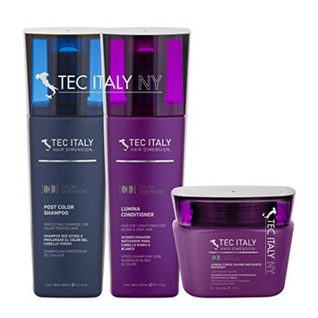 Tec Italy Blonde and Highlights Mantainance Pack: Shampoo Post Color 10.1 Oz. + Lumina Conditioner 10.1 Oz. + Lumina Forza Colore Matizant 9.8 Oz.