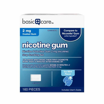 Basic Care Nicotine Gum, 2mg, Ice Mint Flavor, 160 Count []