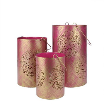 Northlight Set of 3 Fuschia Pink and Gold Decorative Floral Cut-Out Pillar Candle Lanterns 10