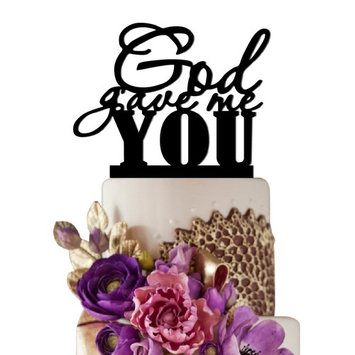 Sugar Yeti God Gave Me You Unique Wedding Cake Topper Solid Black Monogram calligraphy Made From Food Grade Acrylic Designed and Manufactured in California USA Free Shipping