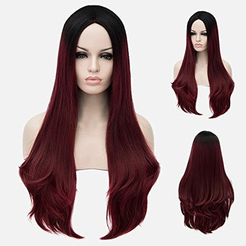 """Beshiny Ombre Dark Red Wigs Two Tones Synthetic Dark Roots Long Natural Straight Wigs Heat Resistant Fiber Hair Full Wigs For Women 28"""""""