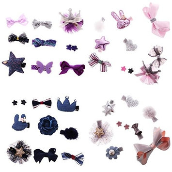 MagiDeal 4 Sets 39 Pieces Infant Baby Hair Bow Mixed Design Toddler Barrettes Fashion Baby Christening Ornaments Accessories