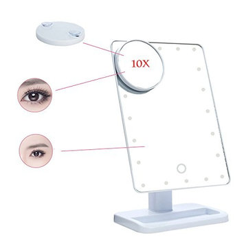 Anself Adjustable LED Lights Makeup Mirror Square Vanity Desk Stand Mirror Rotatable with a 10X Magnifying Sucker Mirror