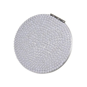 Kingsley White Pearl Double Compact Mirror