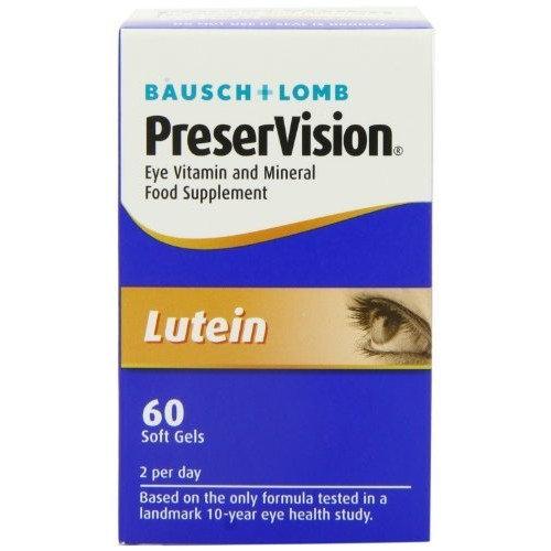Bausch & Lomb PreserVision Eye Vitamin & Mineral Supplement Lutein 60 soft gels