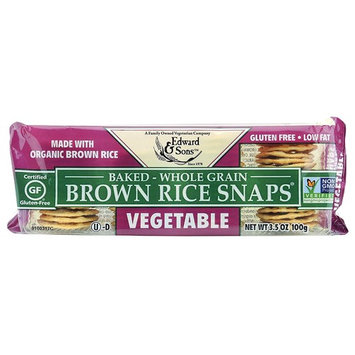 Brown Rice Snaps, Vegetable with Organic Brown Rice, 3.5-Ounce Packs