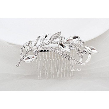 LISALI Bridal Clip Bridal Comb Crystal Hair Comb Wedding Accessory Crystal Leaves Headpiece