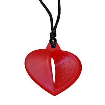 KidKusion Gummi Teething Necklace Heart, Red