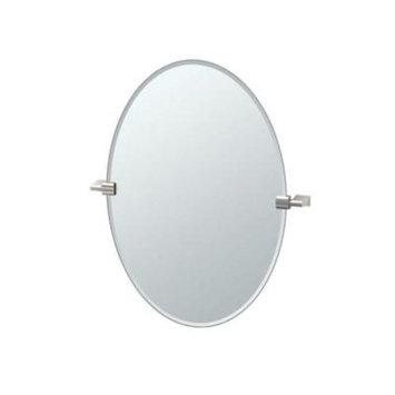 Gatco Bleu 24 in. x 27 in. Frameless Single Oval Mirror in Satin Nickel