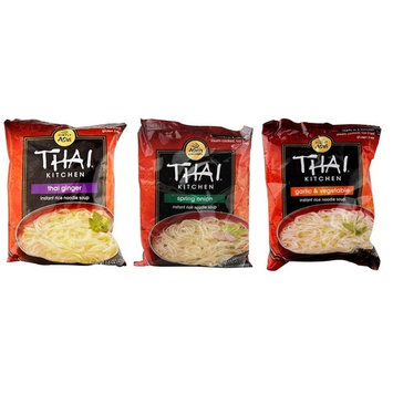 Simply Asia Thai Kitchen Instant Rice Noodle Soup 3 Flavor 9 Bag Variety Bundle: (3) Thai Ginger, (3) Spring Onion, and (3) Garlic Vegetable, 1.6 Oz Ea (9 Tot)