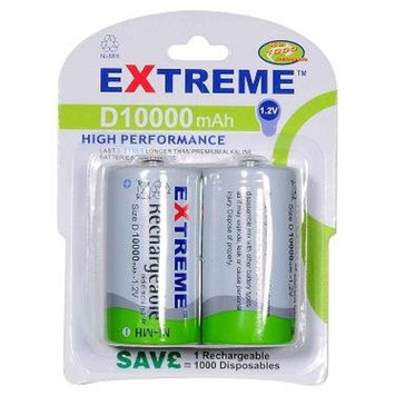 Extreme Rechargeable D Cells 10000 mAh 2 pack
