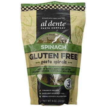 Al Dente PASTA SPIRALS, SPINACH, GF, (Pack of 6)
