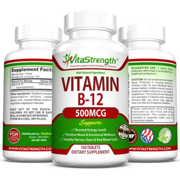 VitaStrength Vitamin B12 - 500 micrograms - Promotes a Healthier Nervous System & Gives Your Mood a Boost - 100 Tablets
