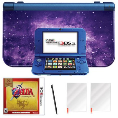 Nintendo 3DS XL Galaxy with Zelda Ocarina of Time and Screen Protector