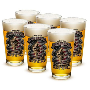 Erazor Bits 16 Ounces Pint Glass American Soldier, Case of 24