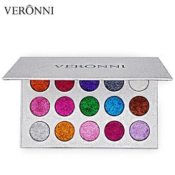 VERONNI Best Selling Makeup 15colors Glitter Eyeshadow Pigment Eyeshadow Palette(Pack of 16)